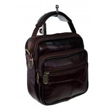 На фото 1 - Маленькая сумка для документов из натуральной кожи, цвет шоколад
