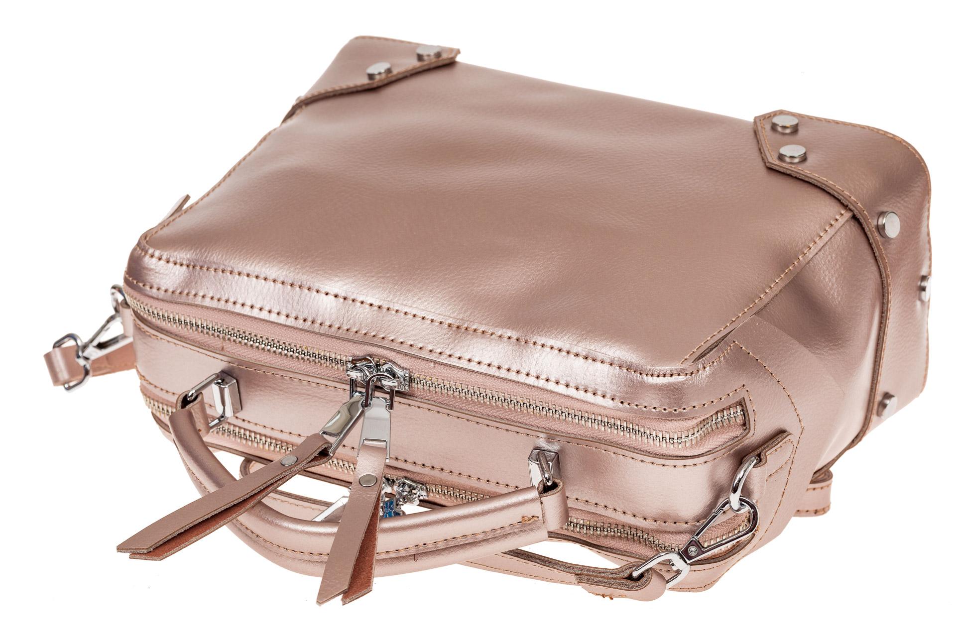 На фото 3 - Мини shoulder bag для лета из натуральной кожи, цвет пудра