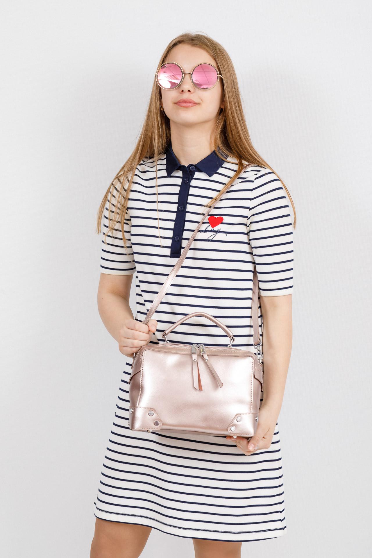На фото 4 - Мини shoulder bag для лета из натуральной кожи, цвет пудра