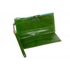 На фото 2 - Портмоне зеленого цвета с молнией и кнопкой 3387