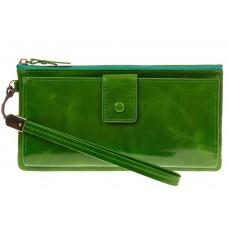 На фото 1 - Портмоне зеленого цвета с молнией и кнопкой 3387