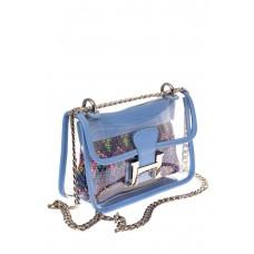 На фото 1 - Яркая и летняя кросс-боди из прозрачного винила, цвет голубой