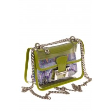 На фото 1 - Яркая и летняя кросс-боди из прозрачного винила, цвет зеленый