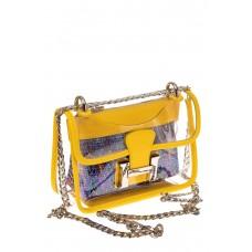 На фото 1 - Яркая и летняя кросс-боди из прозрачного винила, цвет желтый