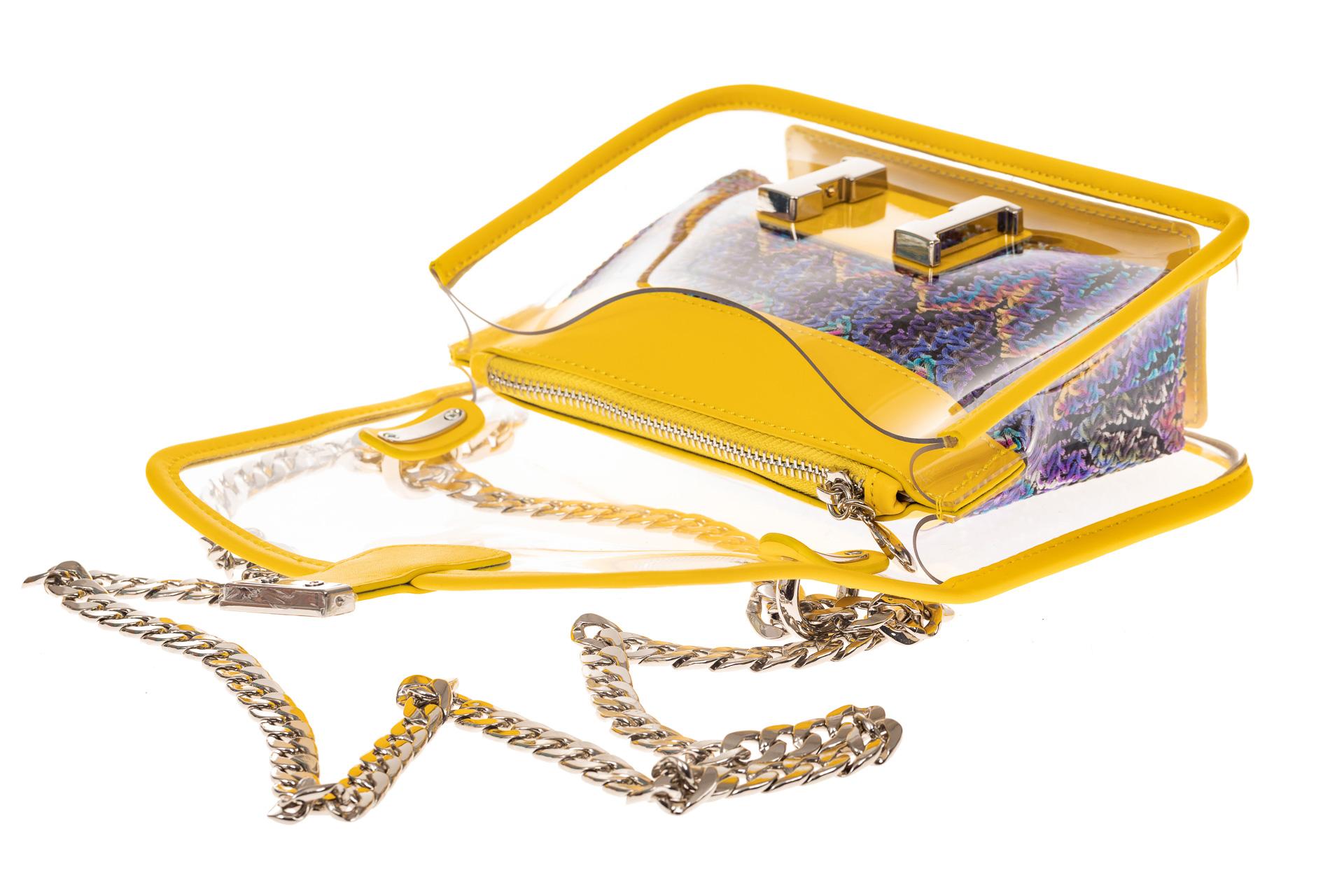 На фото 3 - Яркая и летняя кросс-боди из прозрачного винила, цвет желтый