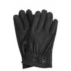 На фото 1 - Чёрные женские перчатки из мягкой искусственной кожи