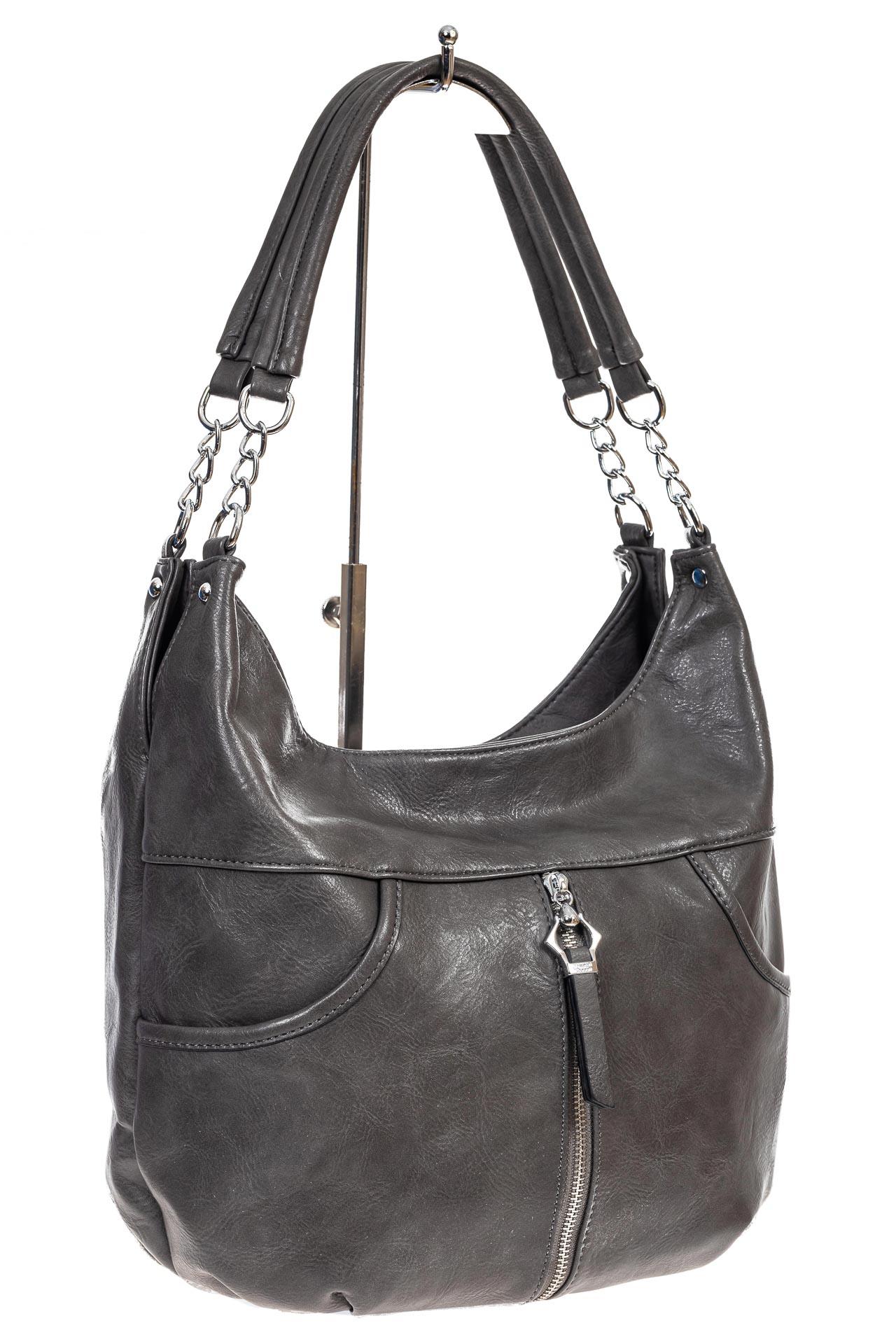 На фото 3 - Женская сумка хобо из искусственной кожи, цвет серый