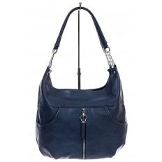На фото 2 - Женская сумка хобо из искусственной кожи, цвет синий
