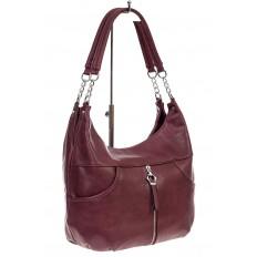 На фото 3 - Женская сумка хобо из искусственной кожи, цвет бордо