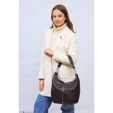 На фото 1 - Женская сумка хобо из искусственной кожи, цвет шоколад