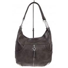 На фото 2 - Женская сумка хобо из искусственной кожи, цвет коричневый