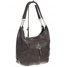 На фото 3 - Женская сумка хобо из искусственной кожи, цвет коричневый