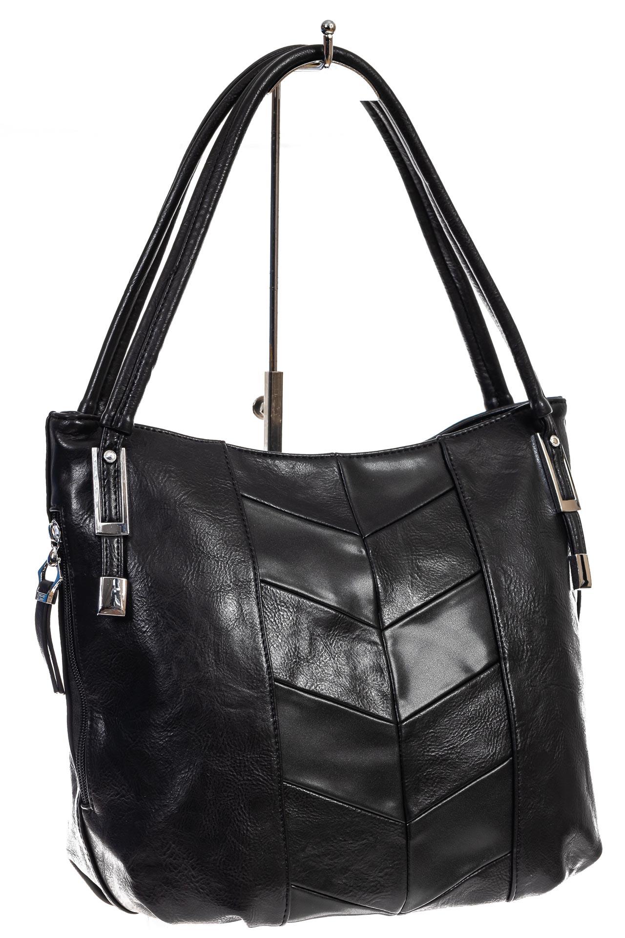 На фото 3 - Женская сумка хобо из искусственной кожи, цвет черный