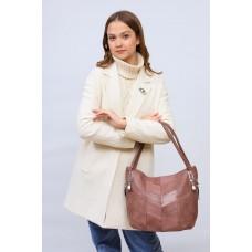 На фото 1 - Женская сумка хобо из искусственной кожи, цвет пудра