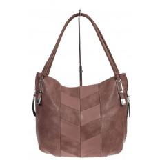 На фото 2 - Женская сумка хобо из искусственной кожи, цвет пудра