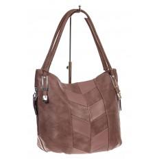 На фото 3 - Женская сумка хобо из искусственной кожи, цвет пудра