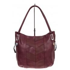 На фото 2 - Женская сумка хобо из искусственной кожи, цвет бордо