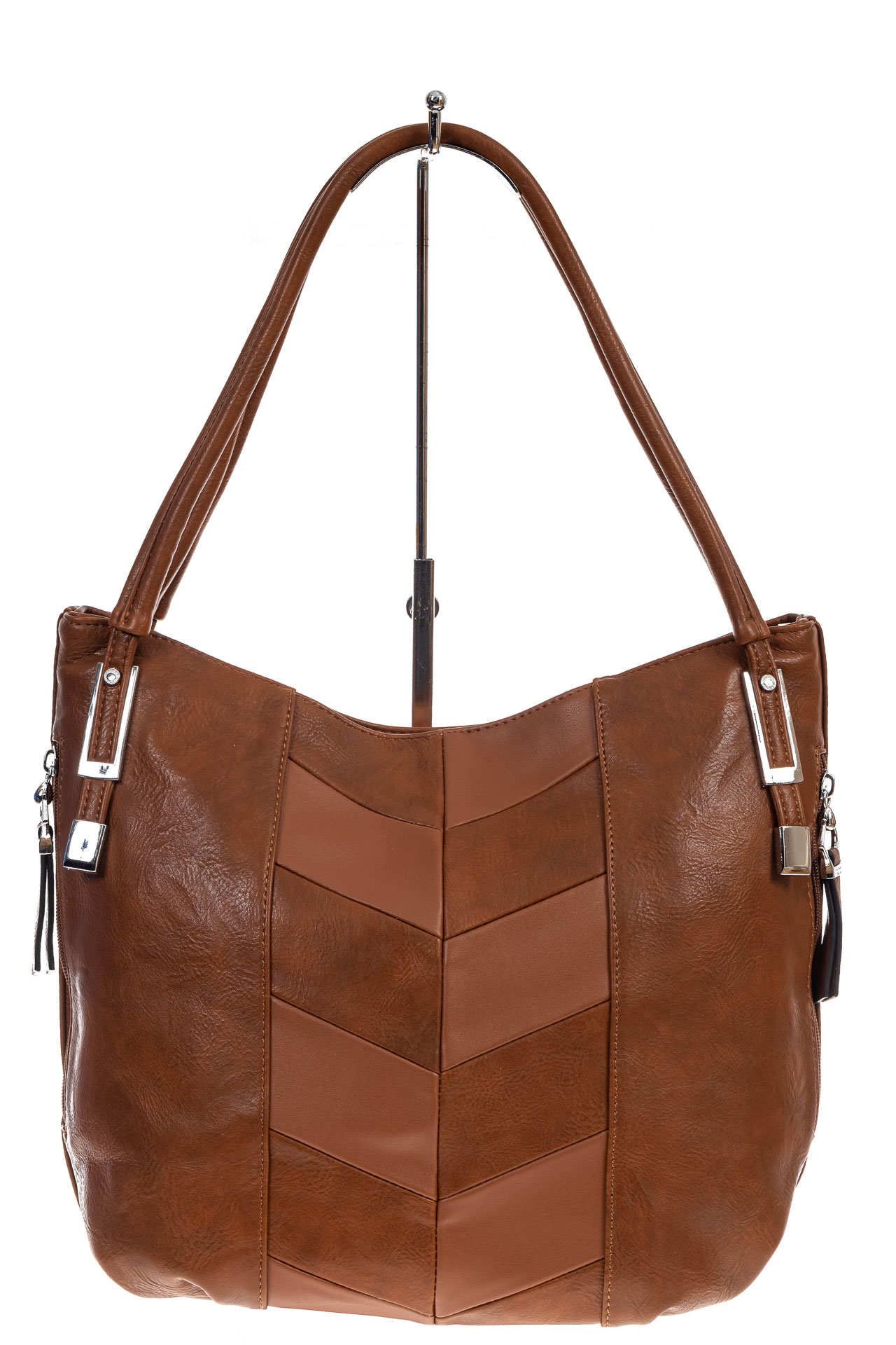 На фото 2 - Женская сумка хобо из искусственной кожи, цвет рыжий