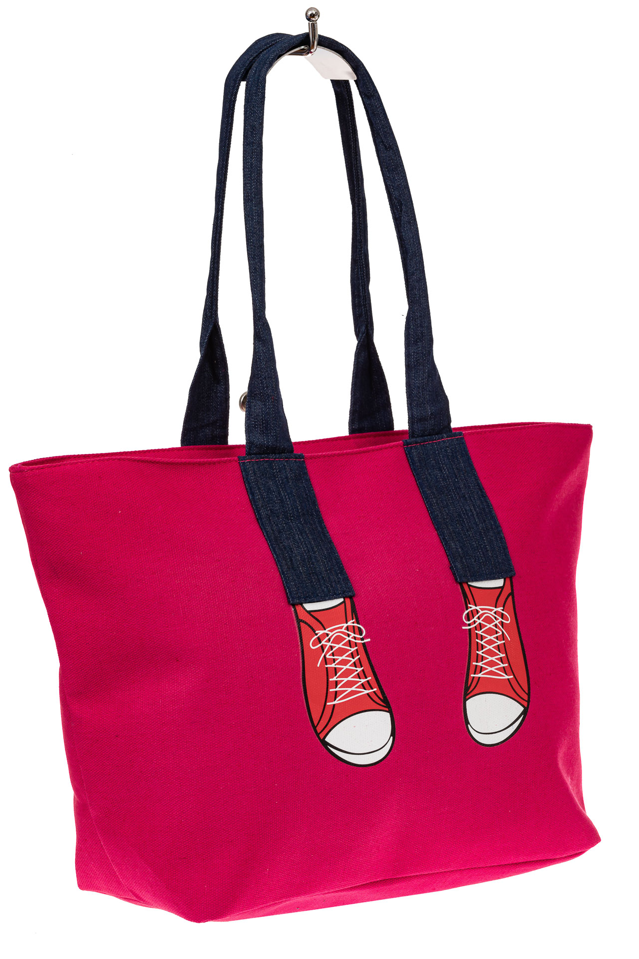 На фото 1 - Шоппер из текстиля с принтом-аппликацией, цвет розовый