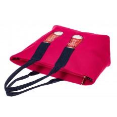 На фото 3 - Шоппер из текстиля с принтом-аппликацией, цвет розовый