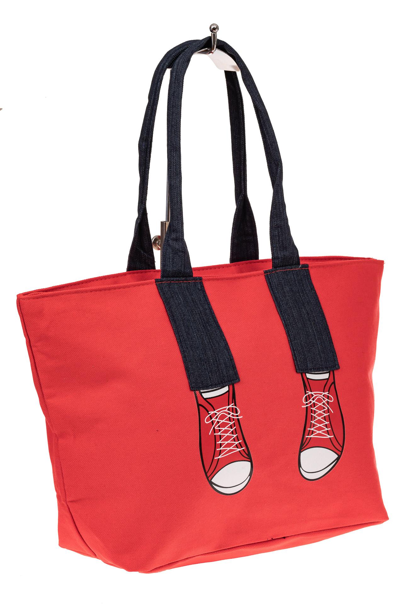На фото 1 - Шоппер из текстиля с принтом-аппликацией, цвет красный