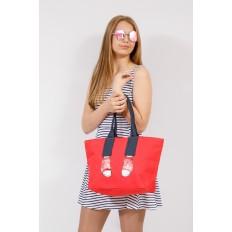 На фото 4 - Шоппер из текстиля с принтом-аппликацией, цвет красный
