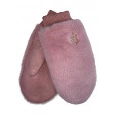 На фото 1 - Варежки женские с вышивкой из искусственного меха и велюра, цвет розовый