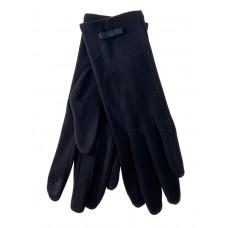 На фото 1 - Удлинённые женские перчатки из велюра, цвет чёрный