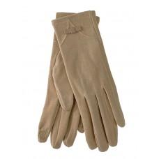 На фото 1 - Удлинённые женские перчатки из велюра, цвет бежевый