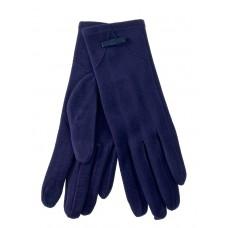 На фото 1 - Удлинённые женские перчатки из велюра, цвет тёмно-синий
