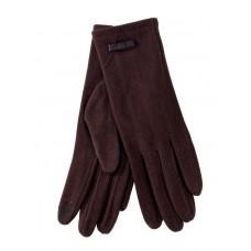 На фото 1 - Удлинённые женские перчатки из велюра, цвет шоколад