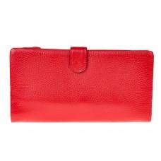 На фото 1 - Портмоне женское (кошелек) из кожи, красное