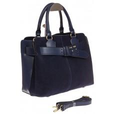На фото 1 - Синяя сумка с поясом из замши и натуральной кожи