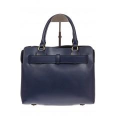 На фото 3 - Синяя сумка с поясом из замши и натуральной кожи