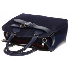 На фото 4 - Синяя сумка с поясом из замши и натуральной кожи
