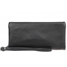 На фото 1 - Стильный кошелек-клатч женский из натуральной кожи, цвет черный