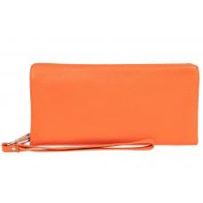 На фото 1 - Стильный кошелек-клатч женский, цвет оранжевый
