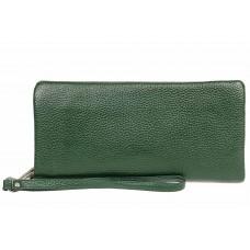 На фото 1 - Стильный кошелек-клатч женский, цвет зеленый