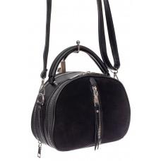 На фото 1 - Маленькая сумка-купол из искусственной кожи и натуральной замши, цвет чёрный
