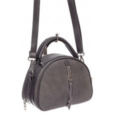 На фото 1 - Маленькая сумка-купол из искусственной кожи и натуральной замши, цвет серый
