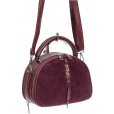 На фото 1 - Маленькая сумка-купол из искусственной кожи и натуральной замши, цвет бордовый