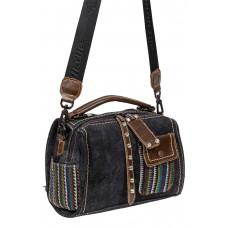 На фото 1 - Сумка-рюкзак молодёжная из джинсы, цвет графит