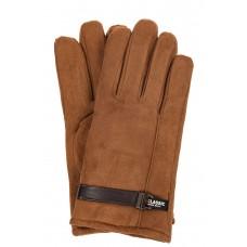На фото 1 - Тёплые мужские перчатки из велюра, цвет рыжий