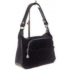 На фото 1 - Небольшая женская сумка из искусственной кожи и замши, цвет чёрный