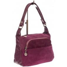 На фото 1 - Небольшая женская сумка из искусственной кожи и замши, цвет баклажан