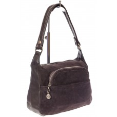 На фото 1 - Небольшая женская сумка из искусственной кожи и замши, цвет кофе