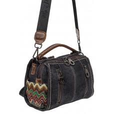 На фото 1 - Джинсовая молодёжная сумка-рюкзак, цвет графитовый