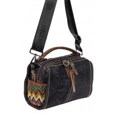 На фото 1 - Молодёжная джинсовая сумка с подвеской, цвет графит