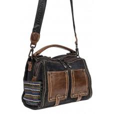 На фото 1 - Джинсовая молодёжная сумка-трансформер, цвет графит