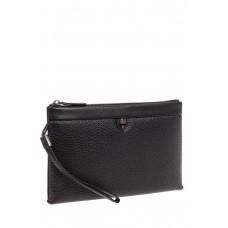 На фото 1 - Кожаная мужская сумка клатч под документы, цвет черный